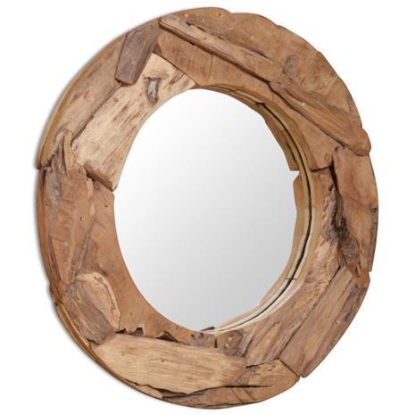 vidaXL Koristeellinen peili pyöreä 80 cm Tiikki