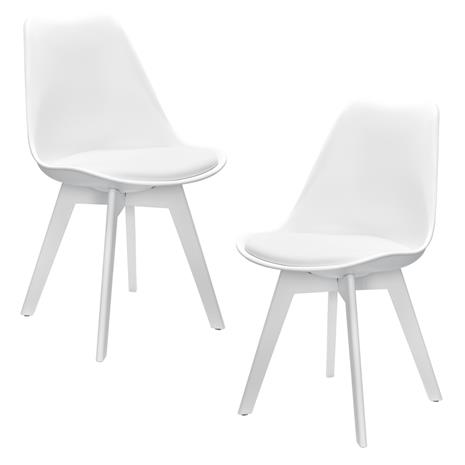 [en.casa]® Design tuoli 2 kpl / setti - 83 x 48cm - valkoinen