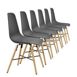 [en.casa]® Design tuoli - 6 kpl / setti - 85,5 x 46 cm - harmaa
