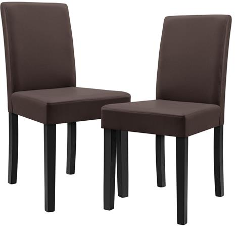 [en.casa]® Pehmustettu tehonahka tuoli - 2 kpl / setti - 90 x 42 x 48 cm - ruskea
