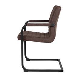 [en.casa]® Design tuoli 2 kpl / setti - tummanruskea alcantara-tekonahka - 86,5 x 60cm - käsinojalla