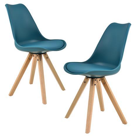 [en.casa]® Design tuoli 2 kpl / setti - 85 x 48.5 cm - turkoosi