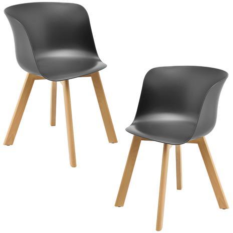 [en.casa]® Design tuoli - 2 kpl / setti - 75 x 55,5 cm - harmaa