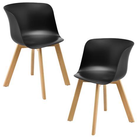 [en.casa]® Design tuoli - 2 kpl / setti - 75 x 55,5 cm - musta