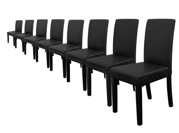 [en.casa]® Pehmustettu tehonahka tuoli - 8 kpl / setti - 90 x 42 x 48 cm - musta