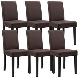 [en.casa]® Pehmustettu tehonahka tuoli - 90 x 42 x 48 cm - 6 kpl / setti - ruskea