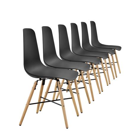 [en.casa]® Design tuoli - 6 kpl / setti - 85,5 x 46 cm - musta
