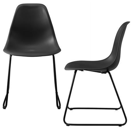 [en.casa]® Design tuoli 2 kpl / setti - 82 x 46,5 cm - metallijalat - musta