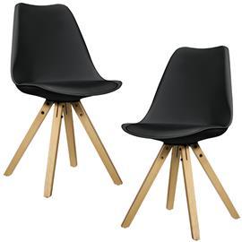 [en.casa]® Design tuoli 2 kpl / setti - 85 x 48.5 cm - musta