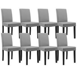 [en.casa]® Pehmustettu tehonahka tuoli - 8 kpl / setti - 90 x 42 x 48 cm - vaaleanharmaa