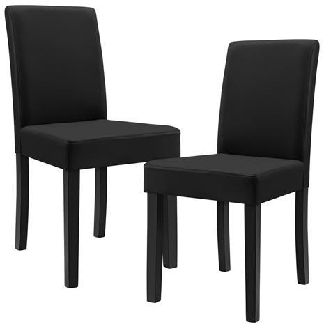 [en.casa]® Pehmustettu tehonahka tuoli - 2 kpl / setti - 90 x 42 x 48 cm - musta