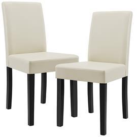 [en.casa]® Pehmustettu tehonahka tuoli - 2 kpl / setti - 90 x 42 x 48 cm - luonnonvalkoinen