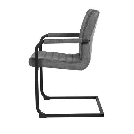 [en.casa]® Design tuoli 6 kpl / setti - harmaa alcantara-tekonahka - käsinojalla - 86,5 x 60cm