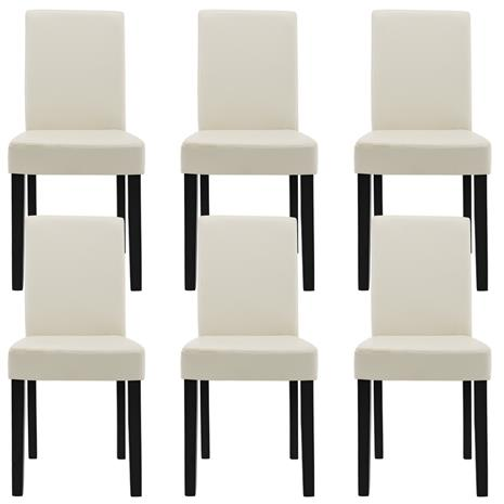 [en.casa]® Pehmustettu tehonahka tuoli - 6 kpl / setti - 90 x 42 x 48 cm - luonnonvalkoinen