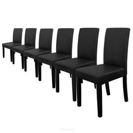 [en.casa]® Pehmustettu tehonahka tuoli - 90 x 42 x 48 cm - 6 kpl / setti - musta