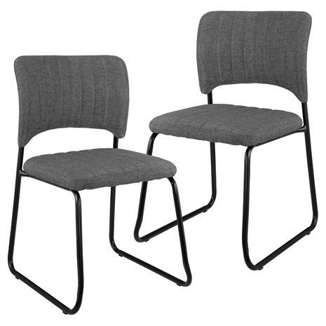 [en.casa]® Design tekonahka tuoli 2 kpl/setti - 78 x 45,7 cm - tummanharmaa