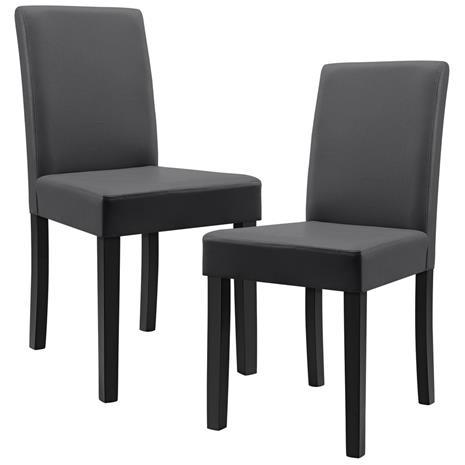 [en.casa]® Pehmustettu tehonahka tuoli - 2 kpl / setti - 90 x 42 x 48 cm - tummanharmaa