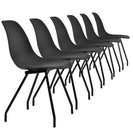 [en.casa]® Design tuoli 6 kpl / setti - teräsjalat - mustaa - 83 x 46 cm