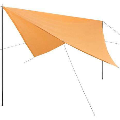 vidaXL Aurinkovarjokangas tolpilla HDPE Neliö 3x3 m Beige