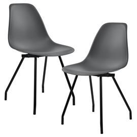 [en.casa]® Design tuoli 2 kpl / setti - teräsjalat - tummanharmaa - 83 x 46 cm