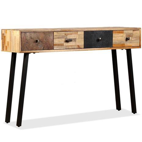 vidaXL Sivupöytä Täysi Uusiokäytetty Tiikki 120x30x76 cm