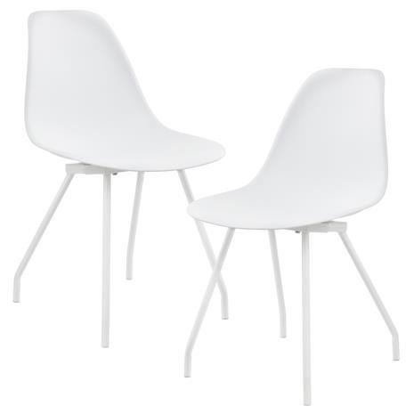 [en.casa]® Design tuoli 2 kpl / setti - teräsjalat - valkoinen - 83 x 46 cm