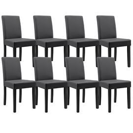 [en.casa]® Pehmustettu tehonahka tuoli - 8 kpl / setti - 90 x 42 x 48 cm - tummanharmaa