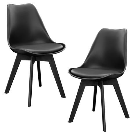 [en.casa]® Design tuoli 2 kpl / setti - 83 x 48 cm - musta
