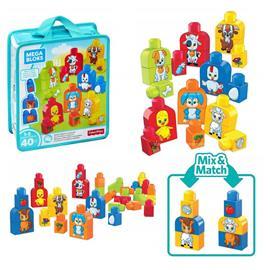 Mega Bloks - 40st Bygg och match djur Läromedel väska