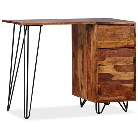 vidaXL Kirjoituspöytä 1 Laatikko ja 1 Kaappi Täysi Seesamipuu