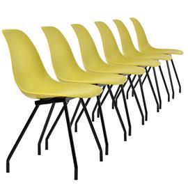 [en.casa]® Design tuoli 6 kpl / setti - teräsjalat - sinapinkeltainen - 83 x 46 cm
