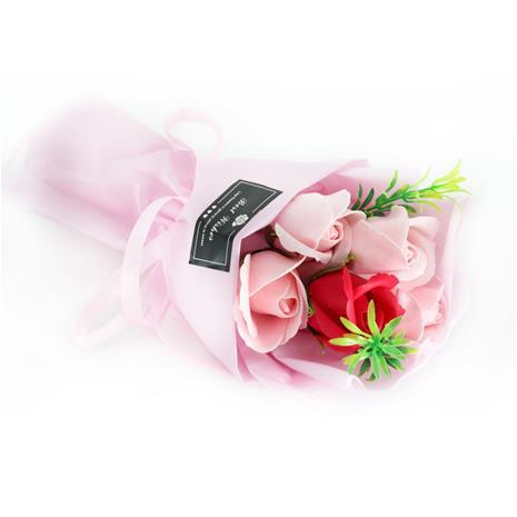 5pcs Bath Soap Rose Flower Simulation Scented Bath (Red)