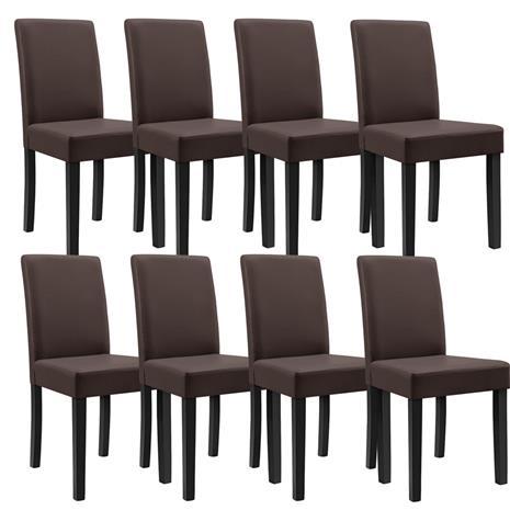 [en.casa]® Pehmustettu tehonahka tuoli - 8 kpl / setti - 90 x 42 x 48 cm - ruskea