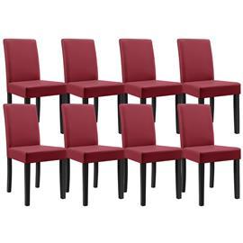 [en.casa]® Pehmustettu tehonahka tuoli - 8 kpl / setti - 90 x 42 x 48 cm - tummanpunainen