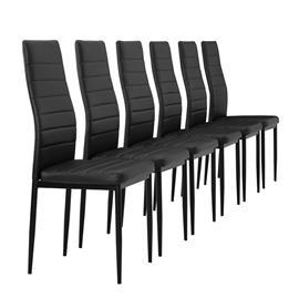 [en.casa]® Pehmustettu tekonahka tuoli - 6 kpl / setti - 96 x 43 cm - musta