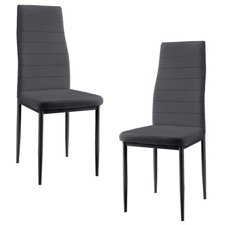[en.casa]® Pehmustettu tekonahka tuoli - 2 kpl / setti - 96 x 43 cm - harmaa