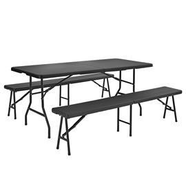 [casa.pro]® Camping pöytä kahdella penkillä-tummanharmaa