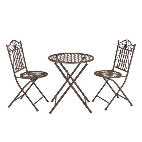 [casa.pro]® Ulkokalustesetti - pyöreä pöytä + 2 tuolia, ruskea