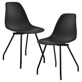 [en.casa]® Design tuoli 2 kpl / setti - teräsjalat - musta - 83 x 46 cm