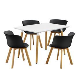 [en.casa]® Moderni ruokailuryhmä + 4 tuolia - musta