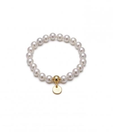 Bud to Rose Armband Pearl vitt/guld