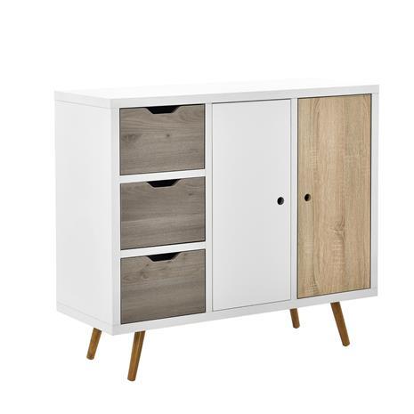 [en.casa]® Design kaappi - lipasto 3 laatikolla ja 2 ovella