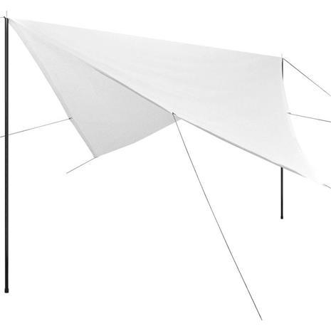 vidaXL Aurinkovarjokangas tolpilla HDPE Neliö 3x3 m Valkoinen