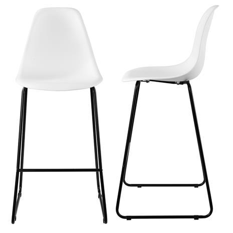 [en.casa]® Design baarituoli (2 kpl / setti) - 110 x 46,5 cm - valkoinen