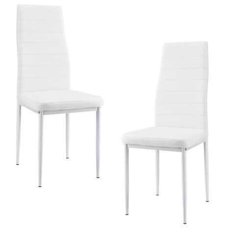 [en.casa]® Pehmustettu tekonahka tuoli - 2 kpl / setti - 96 x 43 cm - valkoinen