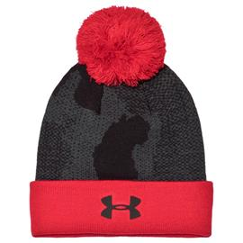 Under Armour, Black & Red Branded Pom Beanie