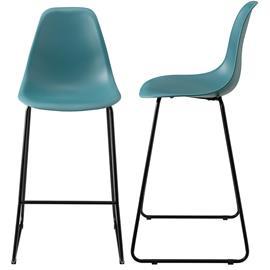 [en.casa]® Design baarituoli (2 kpl / setti) - 110 x 46,5 cm - turkoosi