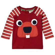 Maroon and Red Stripe Beaver LS Tee3-6 months