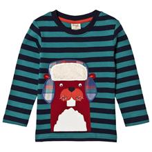 Blue and Navy Beaver LS Tee5-6 years