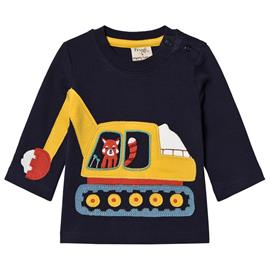 Navy LS Tee with Yellow Tractor0-3 months